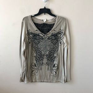 Vocal Tie Dye Embellished Lace Top- Size XL